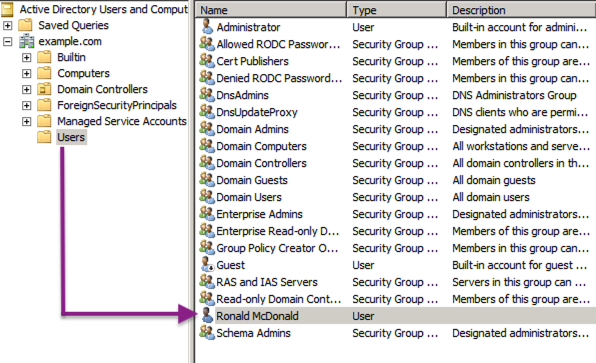 Selecting a user in Active Directory Users and Computers