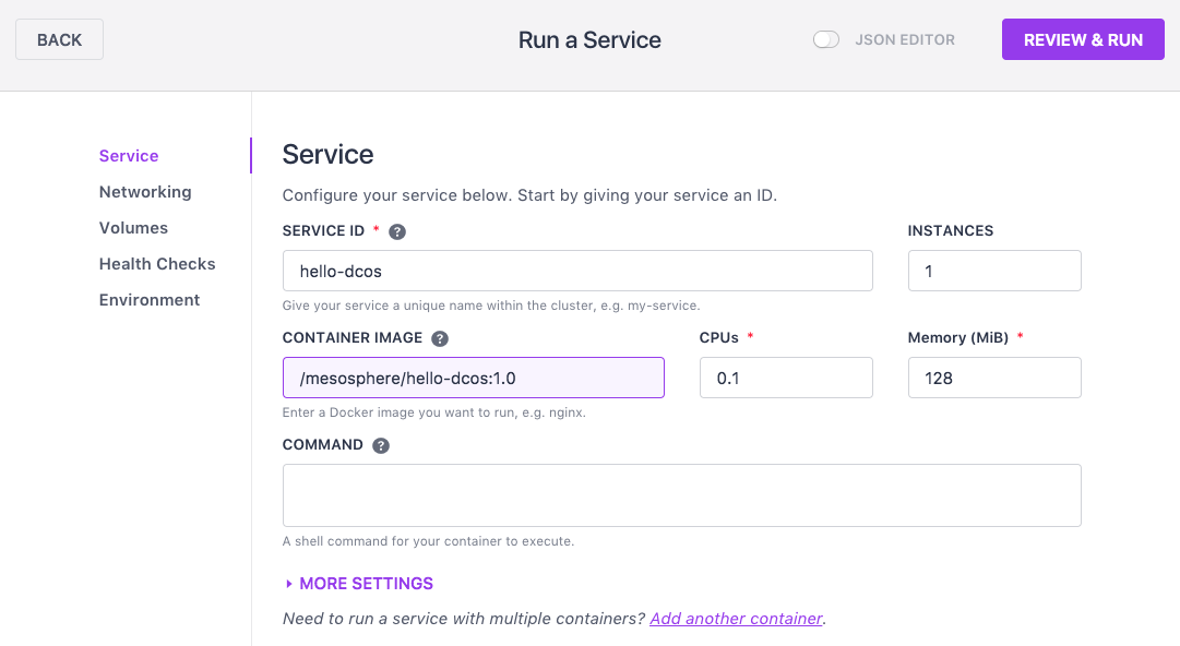 Containerized service in the DC/OS UI