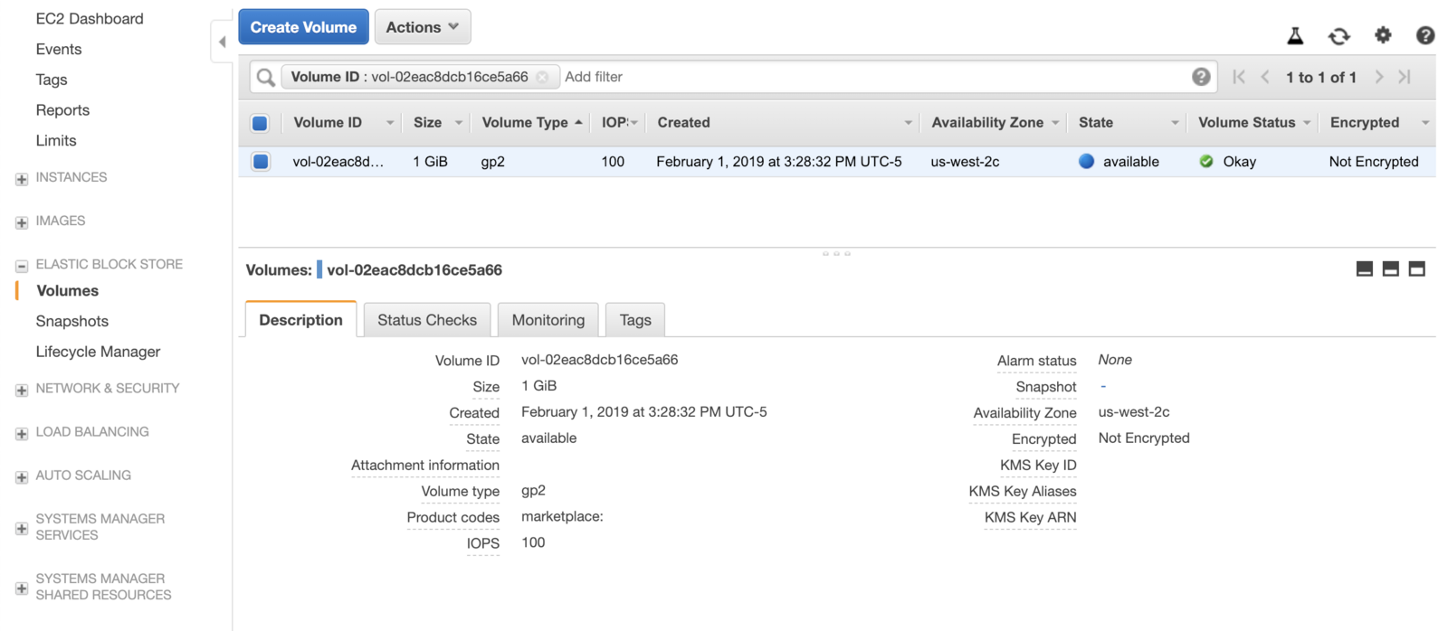 "Screenshot of AWS EBS volume ""available"" for newly created volume."